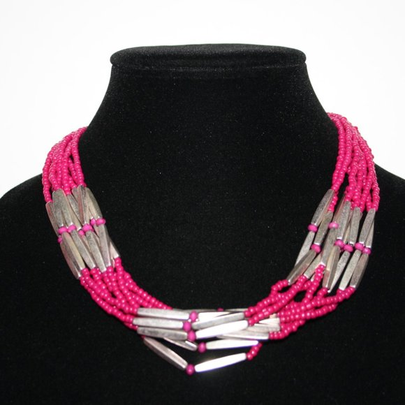 Vintagejelyfish Jewelry - Multi strand pink and silver adjustable necklace
